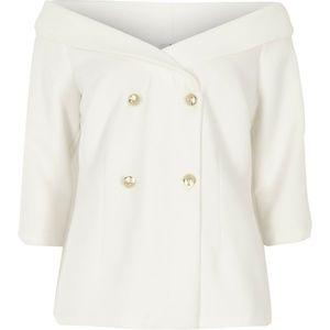 White Off The Shoulder Blazer Top